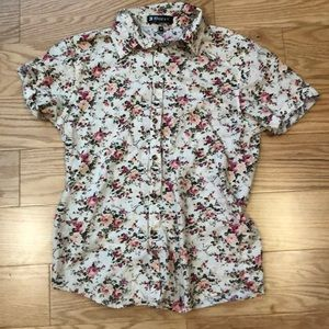 ADORABLE Men's Cream Rose Floral Button Down